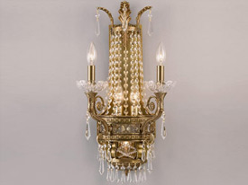"Large Brass & Crystal Wall Sconces - 15"" to 20"" W"